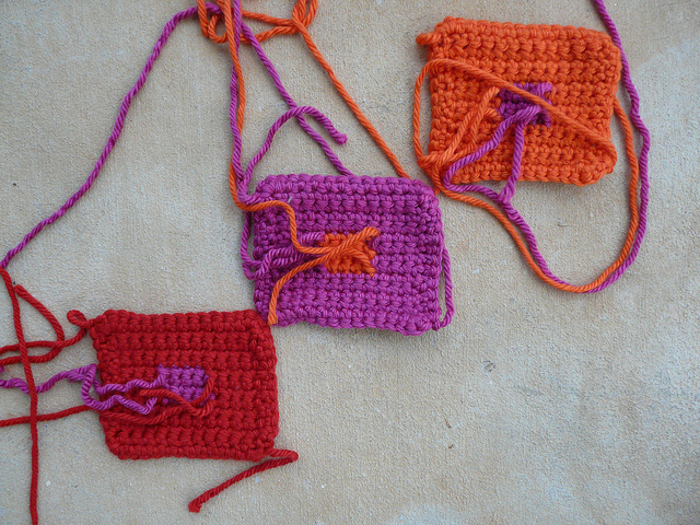 crochetbug, crochet squares, crocheted, crocheting, crochet pet mat, crochet blocks, josef albers
