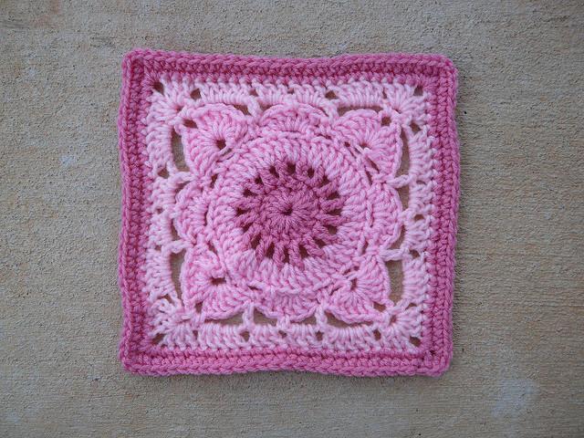 three shades of pink crochet square