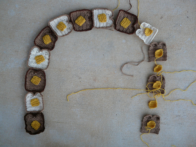 twinkie chan buttered toast crochet scarf