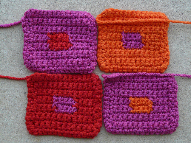 The backs of the four crochet squares that were used to make the pet mat for Joseph Albers' dog