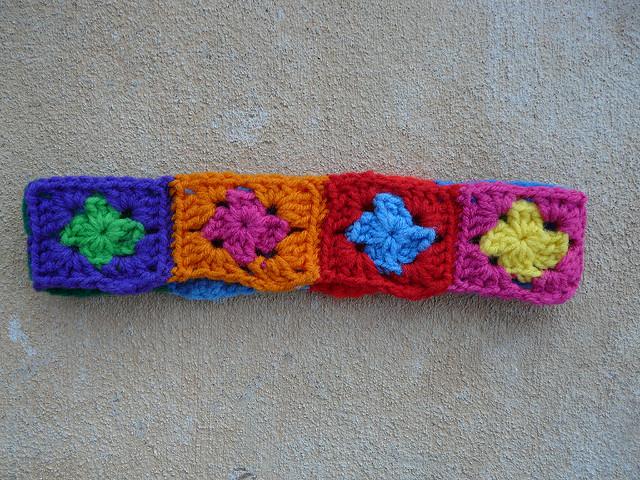 crochetbug, crochet squares, granny squares, crochet headband, granny square headband, crochet ear warmer, granny square ear warmer