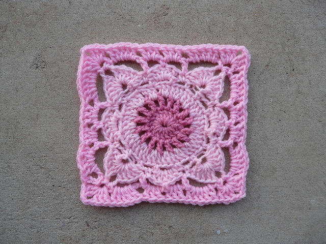 pink crochet square