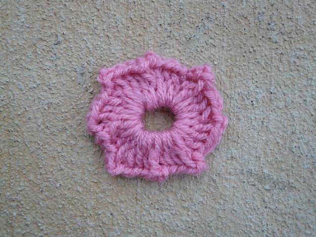 center of a crochet granny square