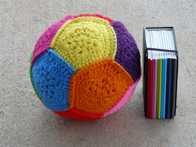 crochet dodecahedron with coordinating calendar