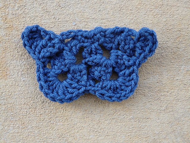 Crochet butterfly in true blue