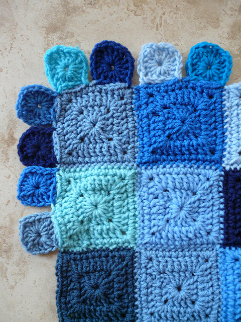 I begin adding the border to the Little Boy Blue Blanket