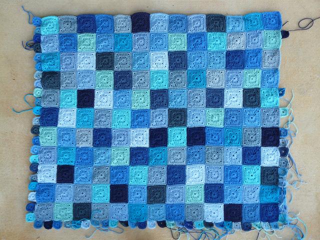 blue crochet squares crochet baby blanket
