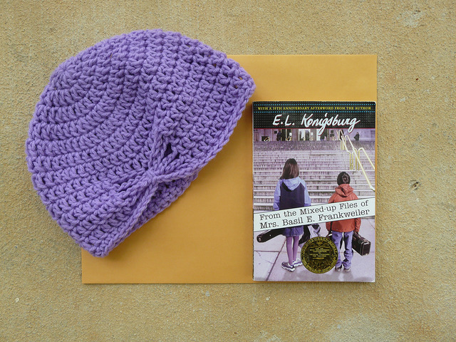 crochet hat made from purple vintage yarn