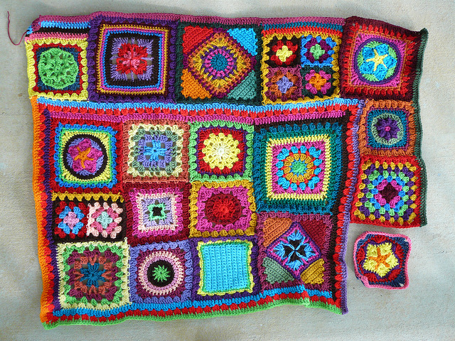 join as you go granny square blanket