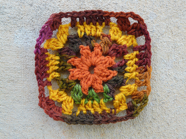 four rounds of a crochet square