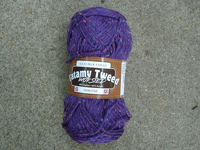 A skein of Kraemer Yarns Tatamy Tweed worsted has me seeing purple