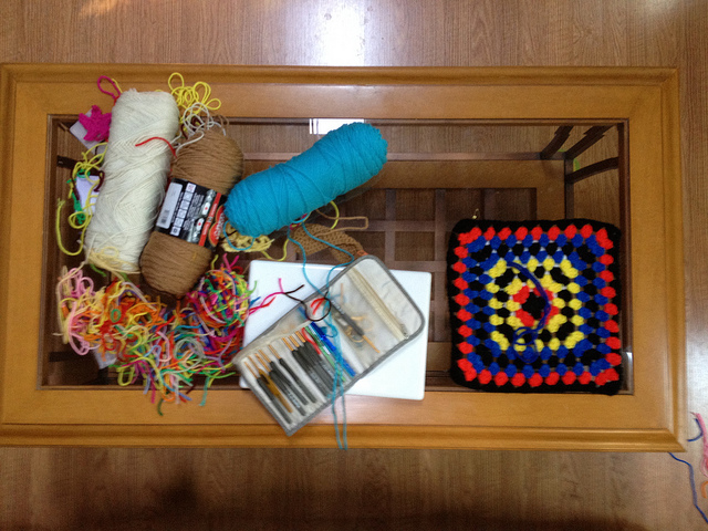 crochetbug, yarn stash, declutter, worsted weight yarn, crochet hooks, granny square, granny squares, crochet square