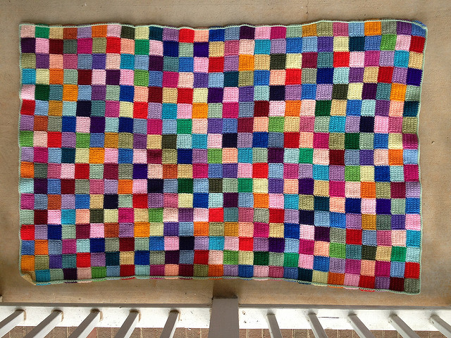 My yoga blanket made of crochet squares