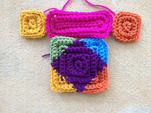 Textured crochet square and rectangle motifs