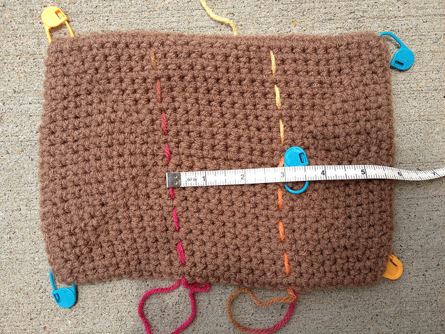 Measuring the foundation chain at the center of the crochet rectangle