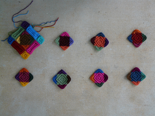 The center crochet motifs with the ends woven in as Monday was unfolding
