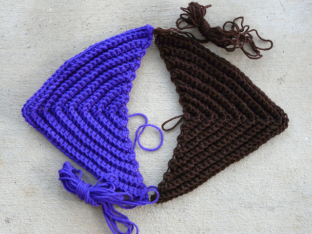 two textured crochet triangles