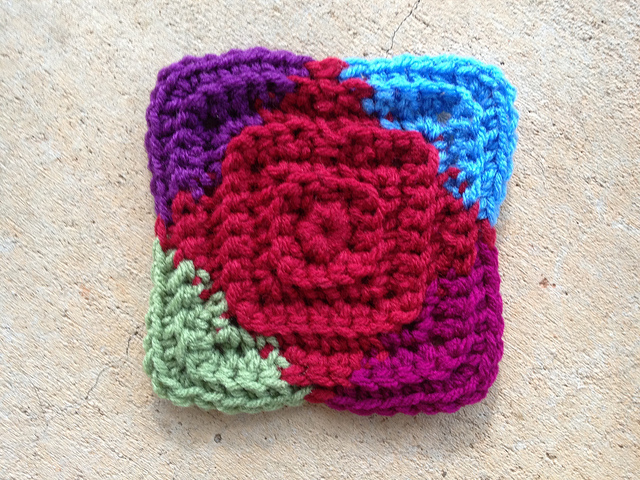 textured crochet square motif
