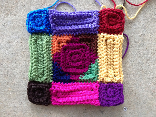 A newly completed multicolor crochet motif found after my search for crochet mojo