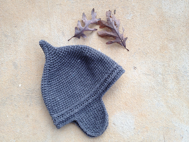 Gray Assyrian crochet helmet with earflaps