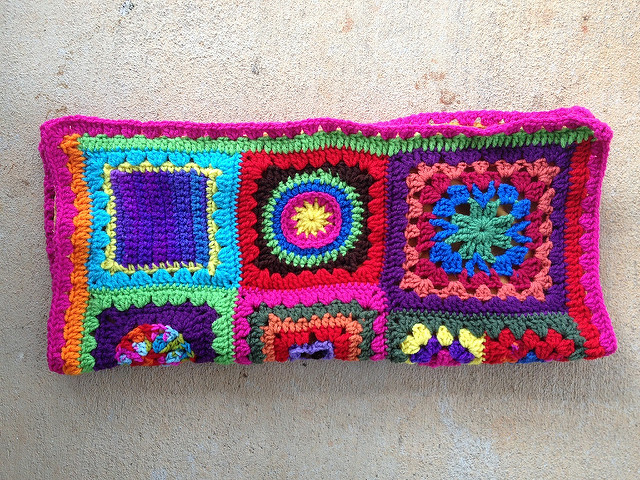 crochet square fat bag