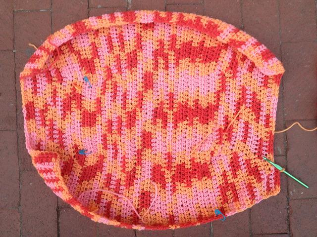 crochetbug, felted crochet fat bag, vintage yarn, wool yarn, use what you have