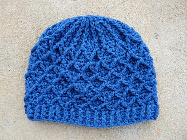 Lattice Crochet Hat made with Red Heart Super Saver blue suede