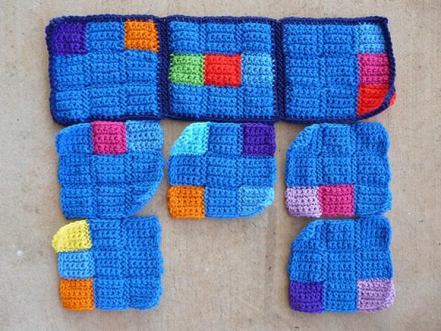I make progress on the six sudoku crochet blanket