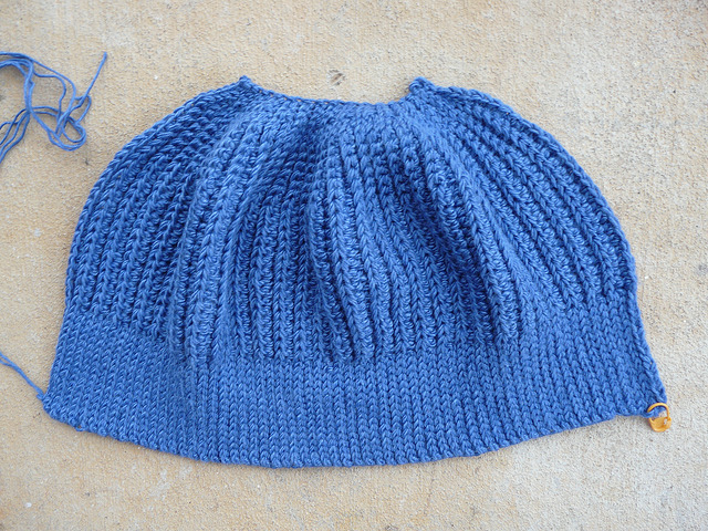 A nearly completed Seafarer's crochet cap worked in fits and starts