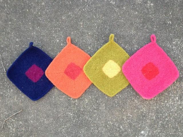 felted crochet pot holders