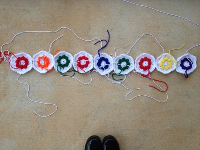 crochet flower hexagons for a crochet blanket