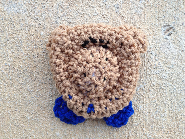 completed crochet bear face