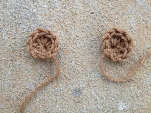 two crochet ears for a crochet bear