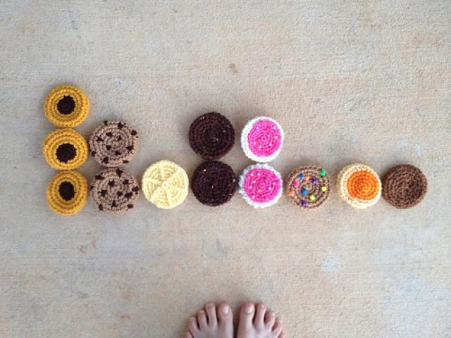 Crochet cookie bar graph on a blue Tuesday