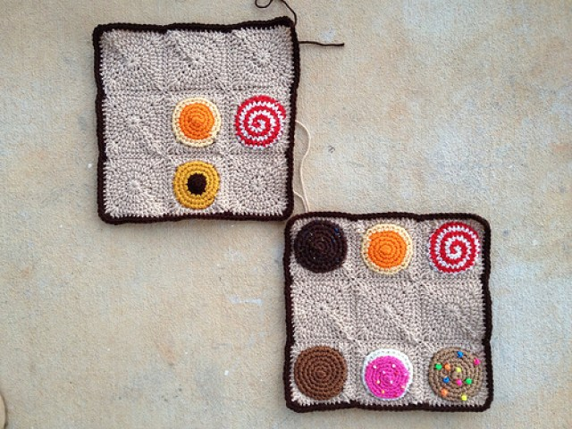 two nine patch crochet squares for a crochet cookie crochet sudoku puzzle