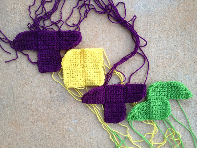 TOTS in crochet tetrominos