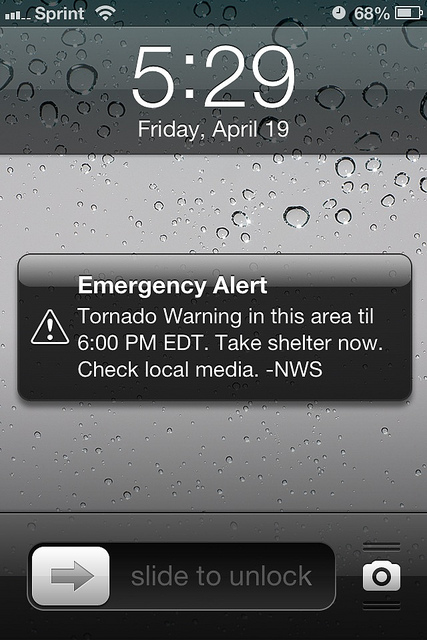 tornado warning emergency alert