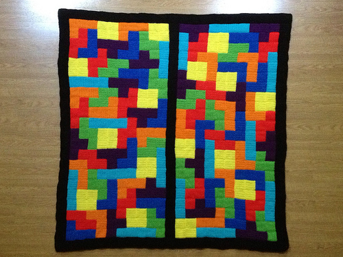 The Tetrisghan with a final round of single crochet, one of several crochet inspirations I found in a game