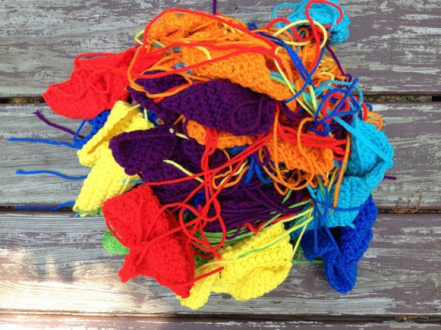 a tangle of crochet tetrominos