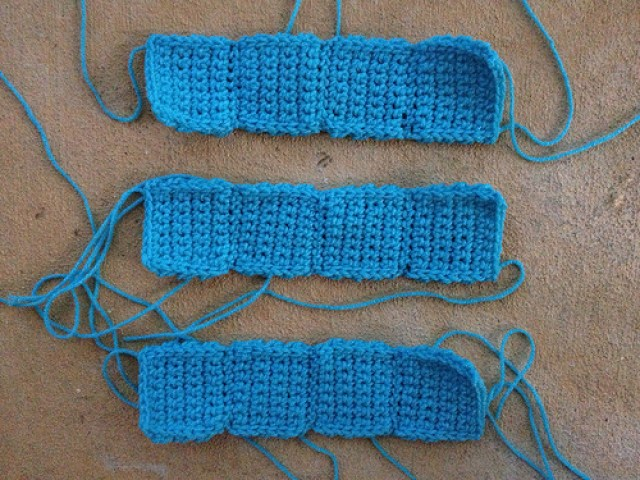 """Three crochet tetromino """"I""""s"""
