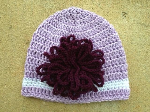 crochetbug, Elle Woods Legally Blonde crochet hat, crochet flower, crochet cap, croche chemo cap