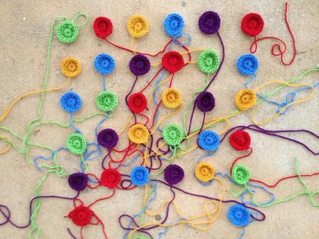 crochetbug, crochet, crocheted, crochet circles, crochet dots, crochet blanket, crochet applique