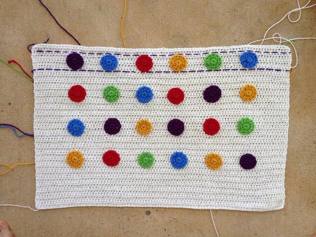 half double crochet blanket with crochet dots