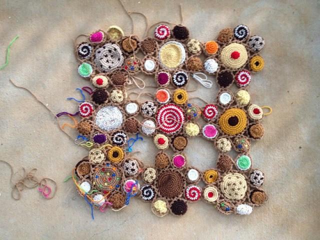 nine crochet cookie motifs
