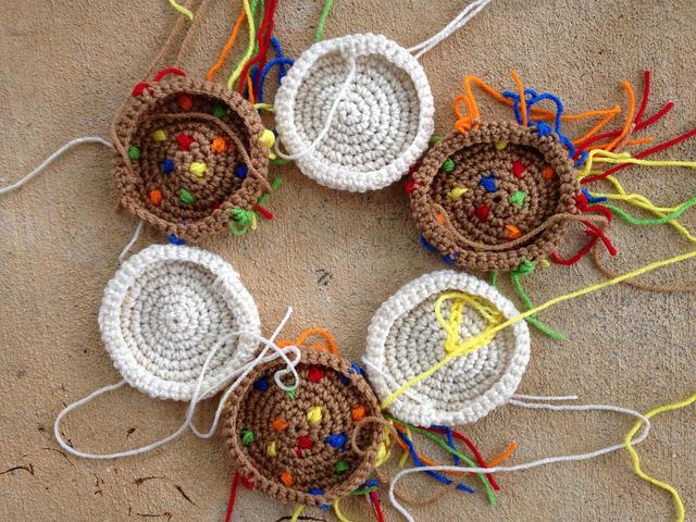 six large crochet cookies