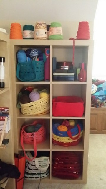 red crochet basket for an ikea cubby