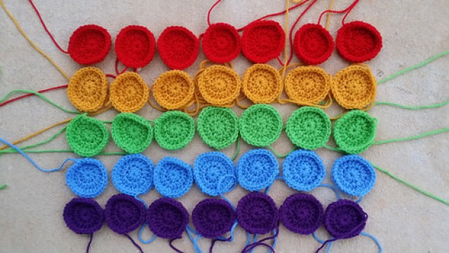 All but one of the crochet dots for the crochet dots blanket