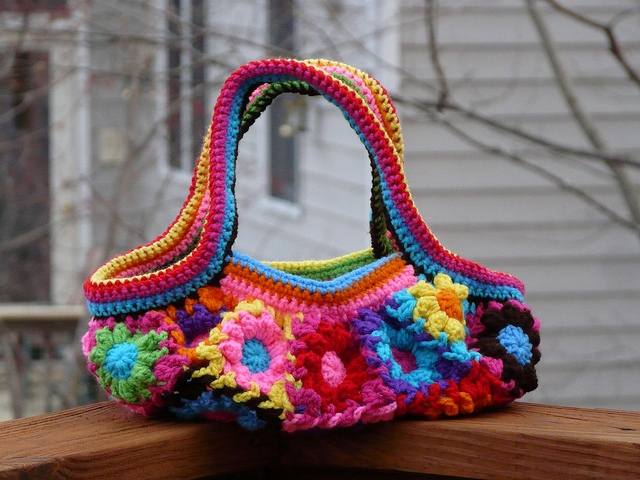 crochet flower crochet fat bag, crochetbug, crochet squares, crochet flowers