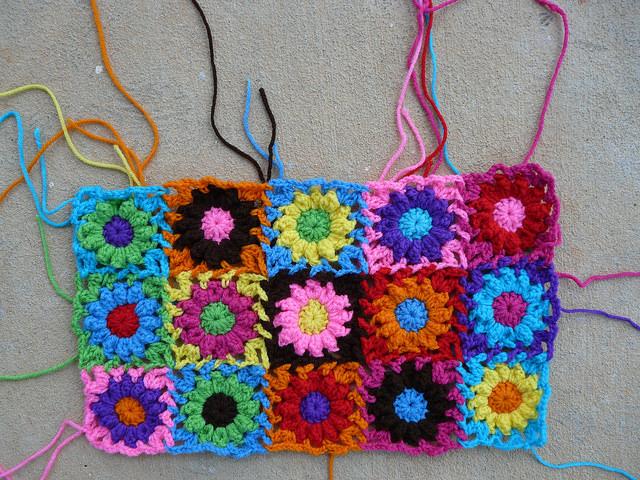 puff stitch crochet flowers crochet purse