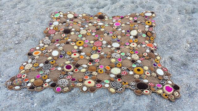 a crochet cookie crochet blanket at Wrightsville Beach